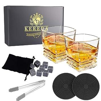 dc7af0c95a45 Vasos de whisky, Kereda 300 ml barra cristal transparente diseño único para  copas de vino para Scotch, Brandy, Vodka o Spirit, juego de 2 Style 2: ...