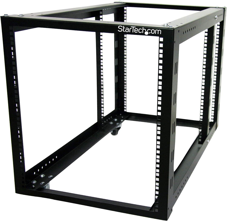 "StarTech.com 12U Open Frame Server Rack - 4 Post Adjustable Depth (3.8"" to 35.9"") IT Network Equipment Rack w/Casters - 596lbs Capacity (4POSTRACK12A), Black"