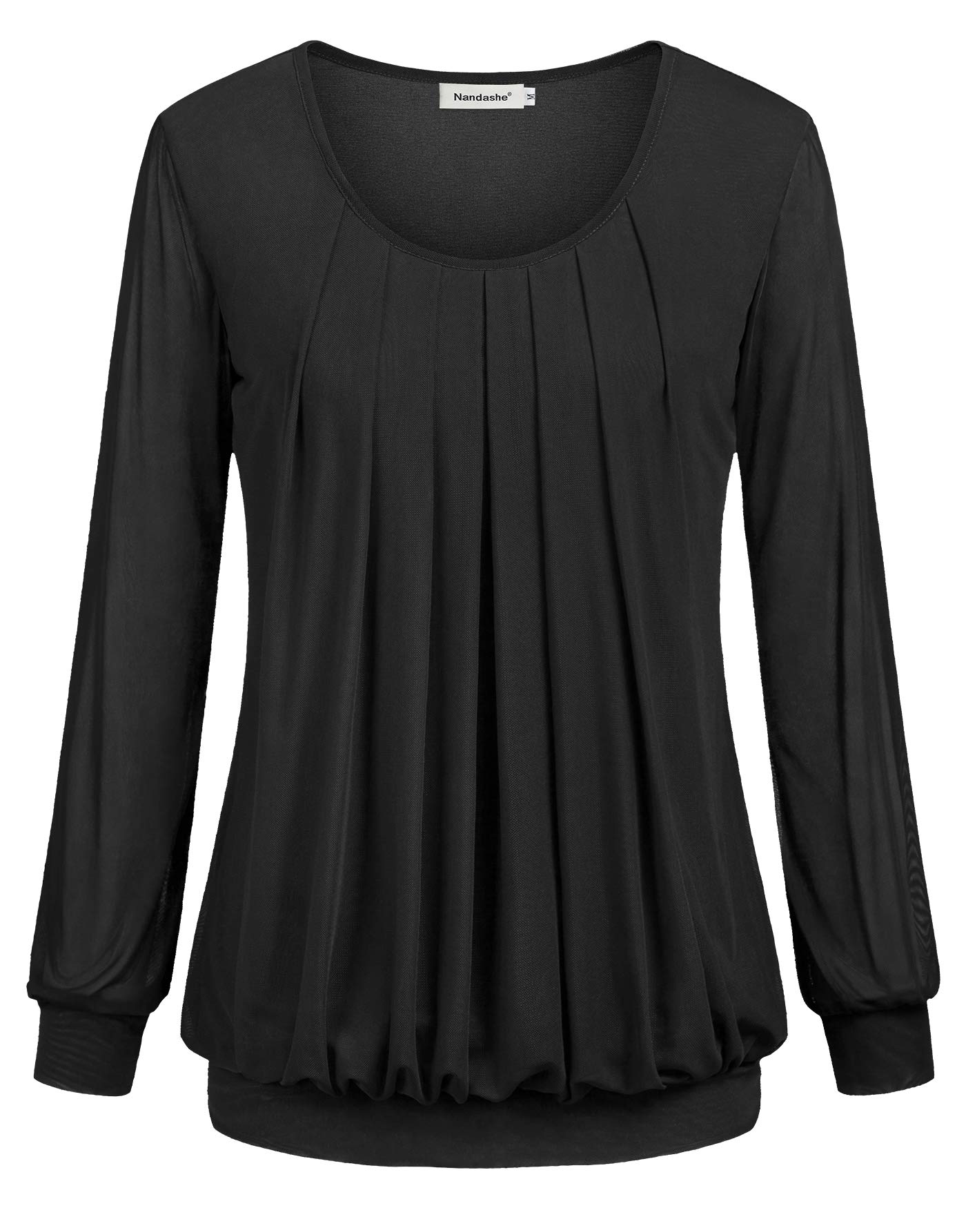 Nandashe Office Wear Women Feminist Rero Style O-Neck Long Sleeves High Stretch Elastic Band Thin Comfy Mesh Draped Blouse Coat Cardigan Jacket in Winter Fall Outfit Clothing Black Size 12-14