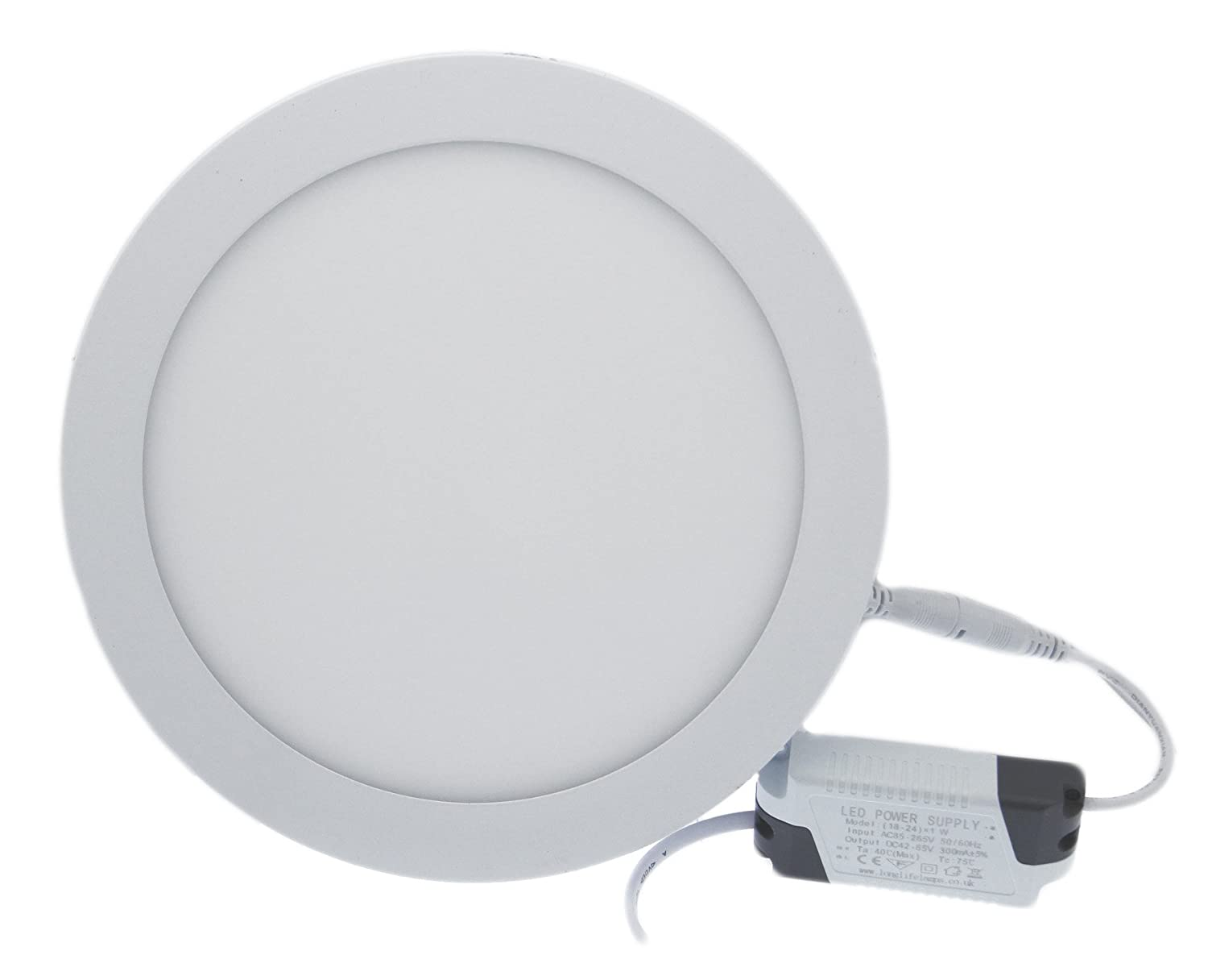 18W LED White Body Round Surface Mount Ceiling Panel Down Light Cool White 6500K Super Bright [Energy Class A+] Long Life Lamp Company