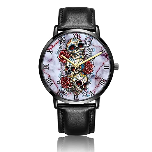 Whiterbunny - Reloj de pulsera unisex analógico con diseño de calavera y flores, de cuarzo
