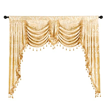 Elkca Golden Jacquard Swag Waterfall Valance Luxury Curtain Valance For Living  Room (Damask Golden