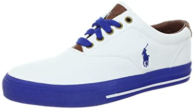 Polo Ralph Lauren Men\u0027s Vaughn Fashion Sneaker, White/Pac Royal/Canvas  Leather,