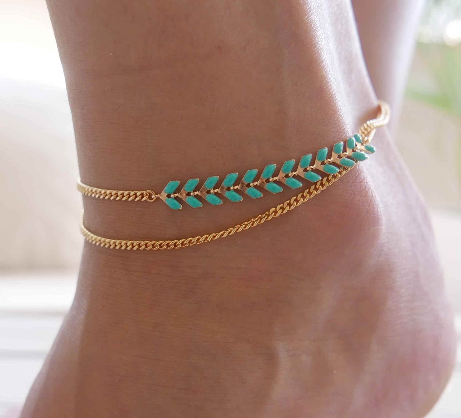 Handmade Gold Anklet For Women Set With Turquoise Arrow Chain By Galis Jewelry - Gold Ankle Bracelet For Women - Arrow Anklet - Arrow Ankle Bracelet