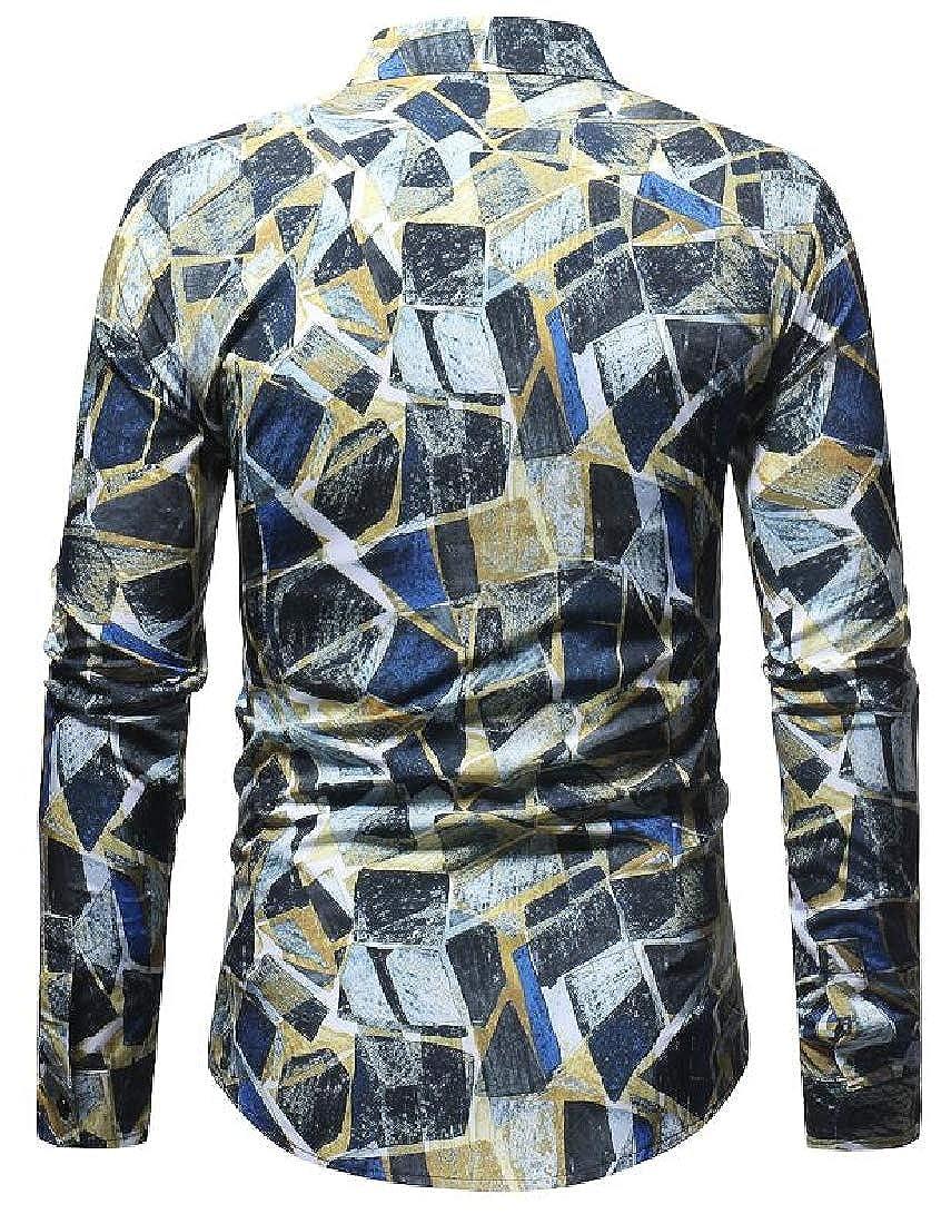 Generic Mens Cotton Luxury Print Dress Shirt Button Down Shirt with Long Sleeve