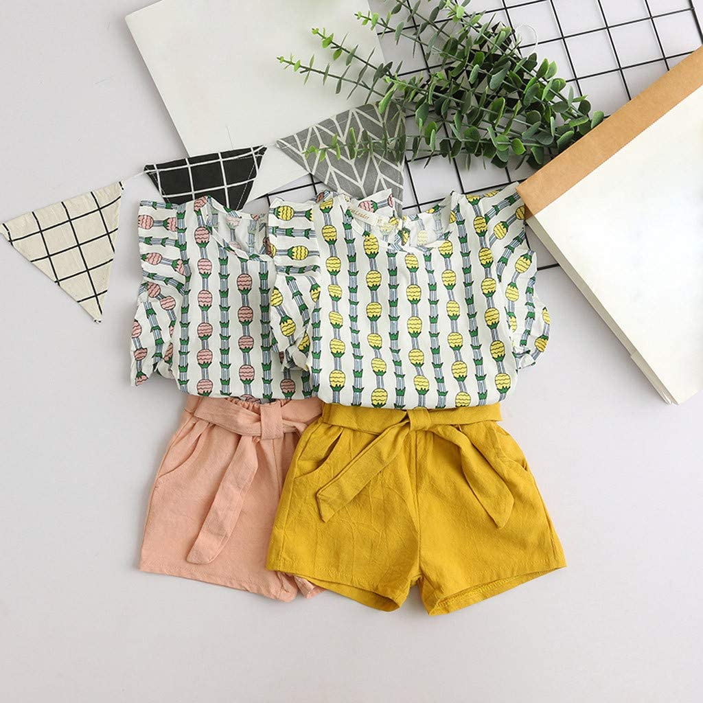 Waymine Kids Baby Girls Pineapple Stripe Print Fly Sleeve Vest Tops+Shorts Set