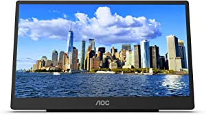 """AOC 16T2 15.6"""" Full HD (1920 x 1080) Touch-Enabled Portable IPS Monitor, USB-C and Micro HDMI inputs, Built-in Battery, Stereo Speakers, SmartCover, AutoPivot, VESA. for laptops, PC, Mac, Consoles"""