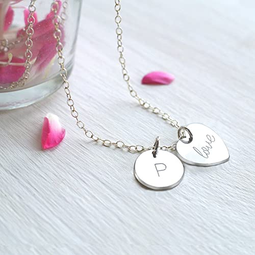 cf1d6080e984c Personalised Sterling Silver 'love' Heart and Little Initial Disc ...