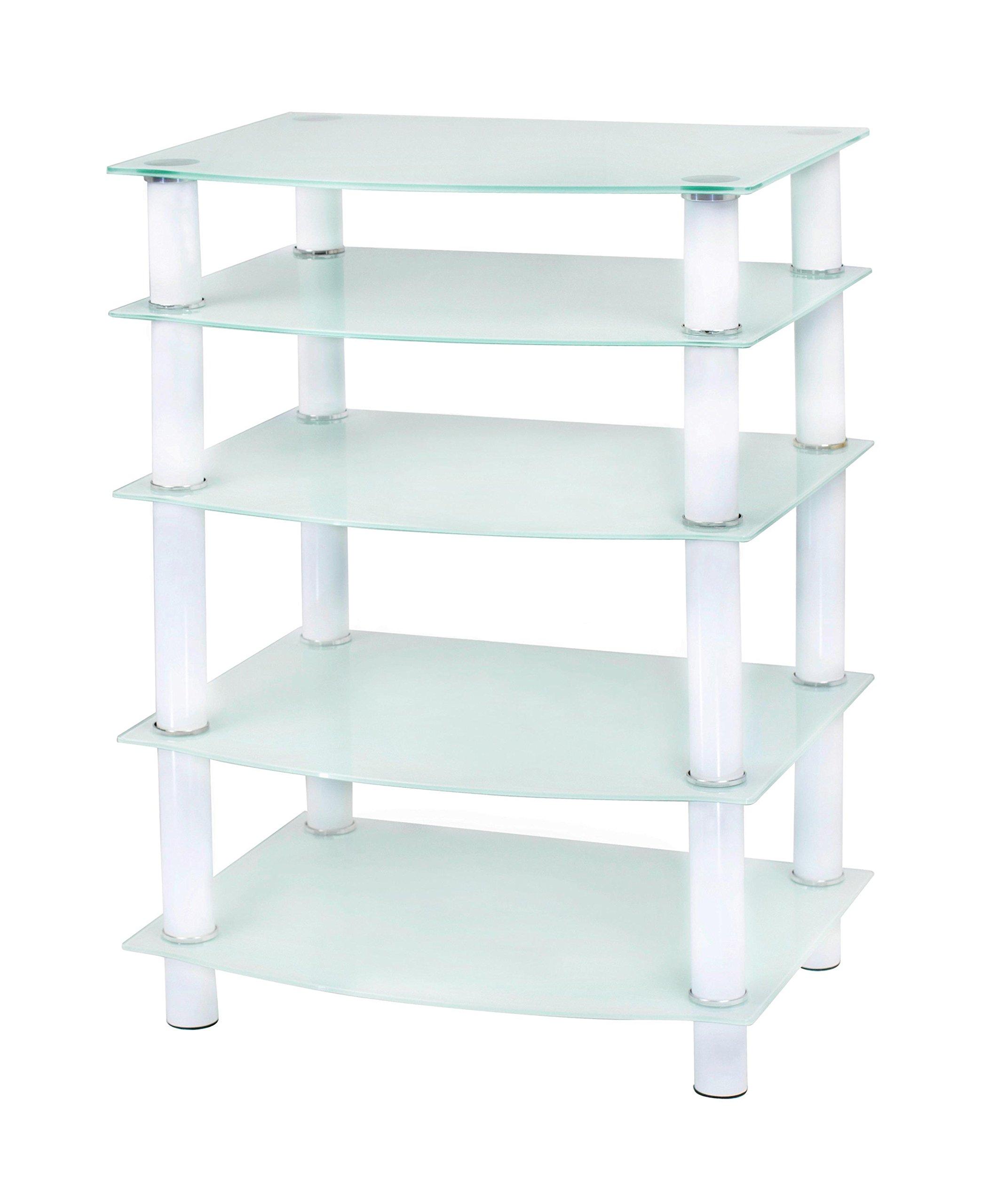 Naomi Home 5 Tier Glass AV Component Media Stand White/White