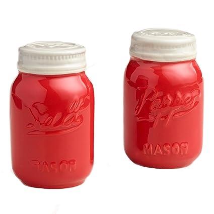 Red Ceramic Mason Jar Salt And Pepper Shaker   Great Kitchen Accessories    Retro Table Countertop