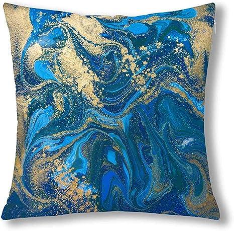 Funda de cojín con diseño Abstracto de mármol líquido Azul y ...