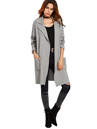 Romwe Women s Classic Open Front Lapel Long Sleeve Pockets Cardigan Sweater 94c7fbfa9