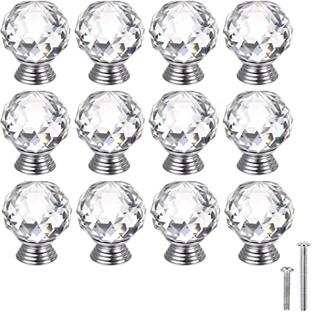 Probrico 20mm Round Glass Kitchen Cabinet Knob Clear Diamond Furniture Drawer Handle Crystal Cupboard Pull with Screws PSP04520TR