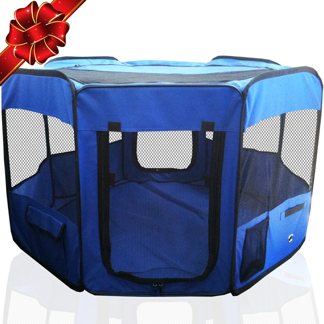 ToysOpoly 45'' Indoor/Outdoor Pet Playpen Cage. Best Exercise Kennel for Your Dog, Cat, Rabbit, Puppy, Hamster or Guinea Pig. Portable for Easy Travel. (Blue) by ToysOpoly