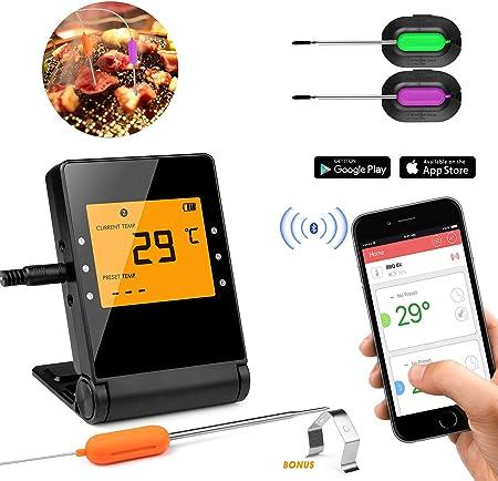 Compra KINGLEAD Parrilla termómetro [Bluetooth] para carne y barbacoa con reloj despertador de cocina [2 sondas] en Amazon.es
