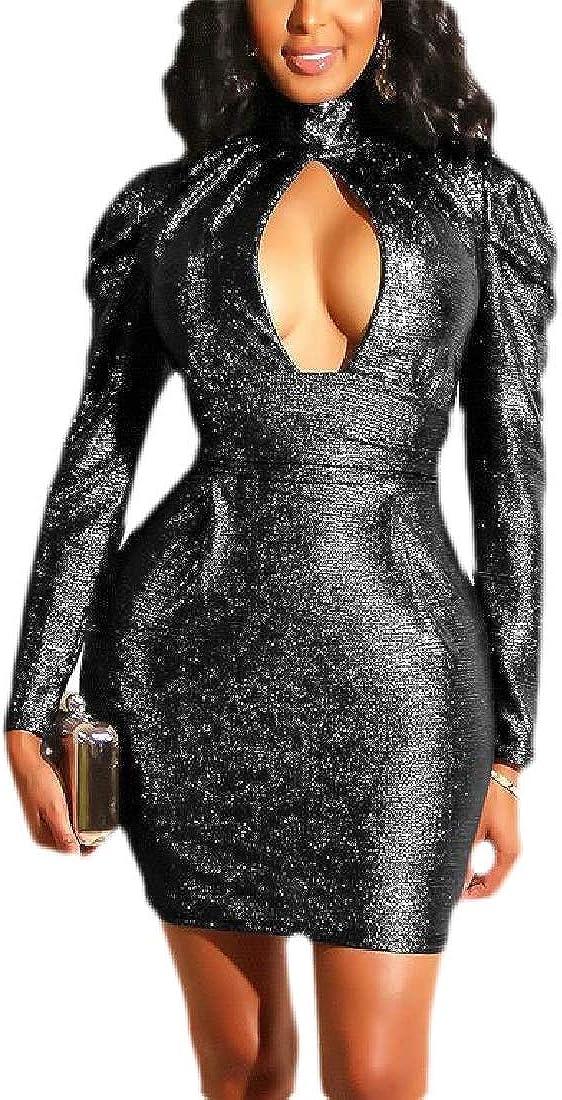 ouxiuli Womens Mock Neck Cut Out Long Sleeve Bodycon Night Club Short Dress