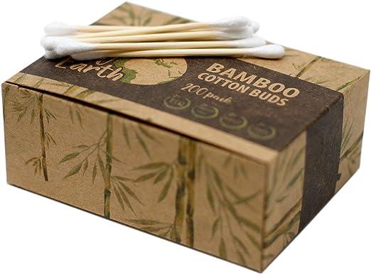 Bastoncillos de Algodón y Bambú Ecológicos Caja de 200 Bastones: Amazon.es: Hogar