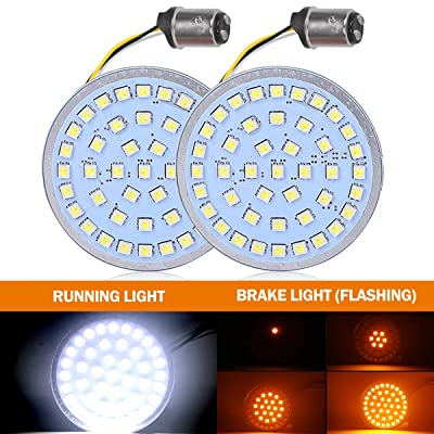 2 Inch Turn Signals Lights 1157 Double Contact for Harley with Flashing Function Amber Brake Light/White Running Light - DOT Compliant: Automotive