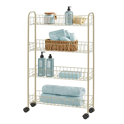 Superieur Richards Homewares Four Tier Slim Rolling Utility Cart, Champagne Finish