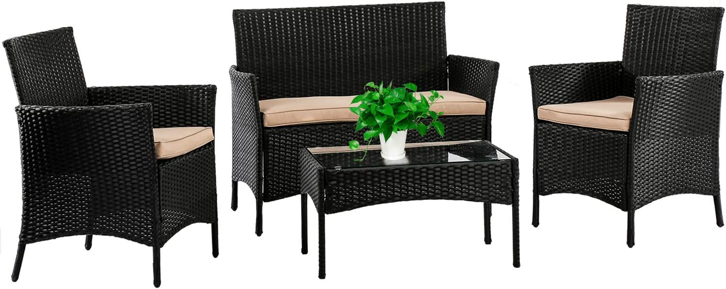 Fdw Patio Furniture Set 4 Pieces Outdoor Rattan Chair Wicker Sofa Garden Conversation Bistro Sets For Yard Pool Or Backyard Garden Outdoor