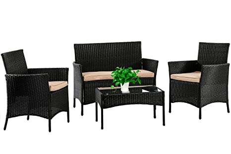 Prime Patio Furniture Set 4 Piece Outdoor Wicker Sofas Rattan Chair Wicker Conversation Set Coffee Table Bistro Sets For Pool Backyard Lawn Black Alphanode Cool Chair Designs And Ideas Alphanodeonline