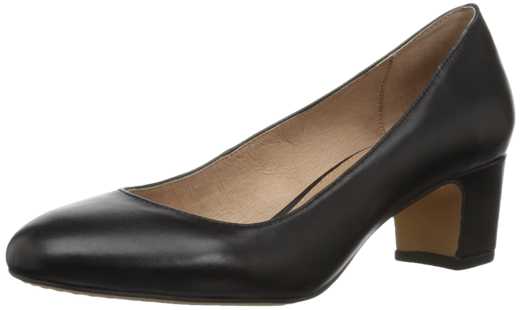 206 Collective Women's Merritt Round Toe Block Heel Low Pump, Black Leather, 10.5 B US