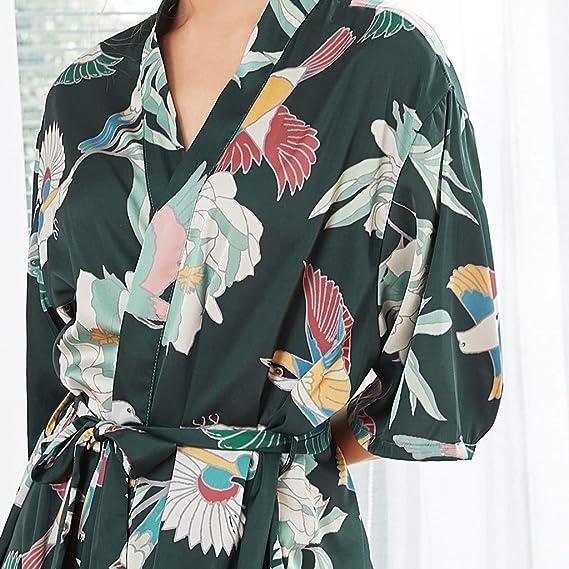 Loolik Vestido Pijama Mujer Kimono Corto Bata de Lencería Kimono ...