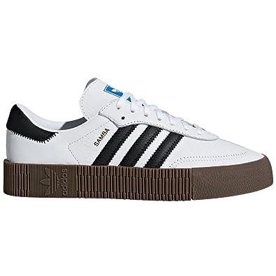 adidas Originals Samba Blanc et Noir Pantoufles pour Femmes avec Plate-Forme. Sports Sneaker