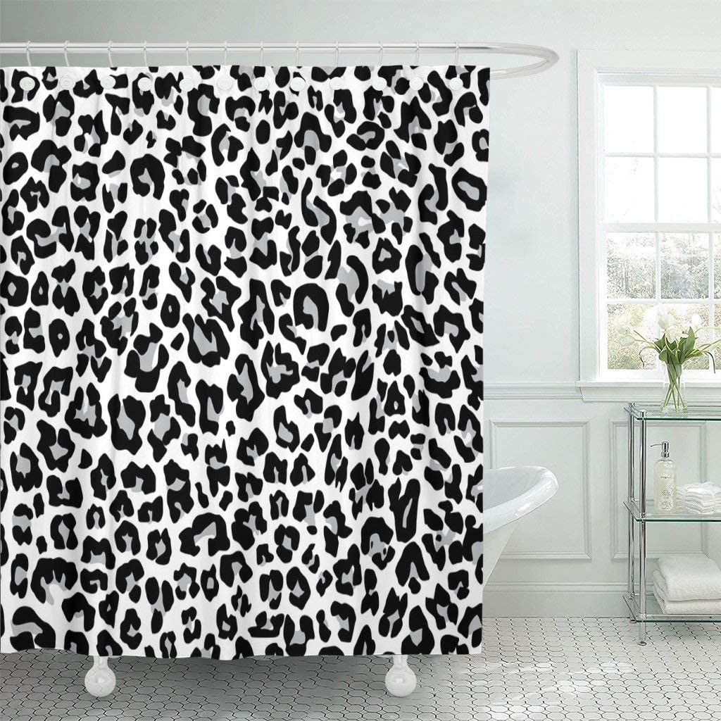 Abaysto Gray Cheetah Snow Leopard Jaguar White Pattern Spot Fur Bathroom Decor Shower Curtain Sets with Hooks Polyester Fabric Great Gift