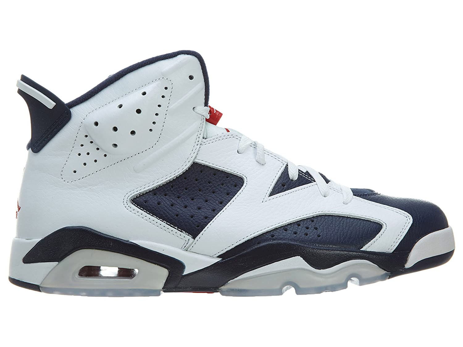new product 69161 4b6d2 Amazon.com   Nike Mens Air Jordan 6 Retro Olympic White Midnight Navy-Varsity  Red Leather Basketball Shoes Size 9.5   Fashion Sneakers