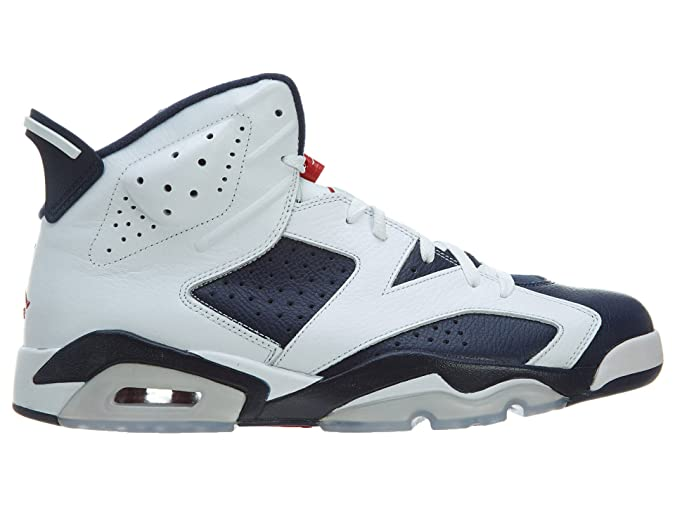 new product 63bec 1345e Amazon.com   Nike Mens Air Jordan 6 Retro Olympic White Midnight Navy-Varsity  Red Leather Basketball Shoes Size 9.5   Fashion Sneakers