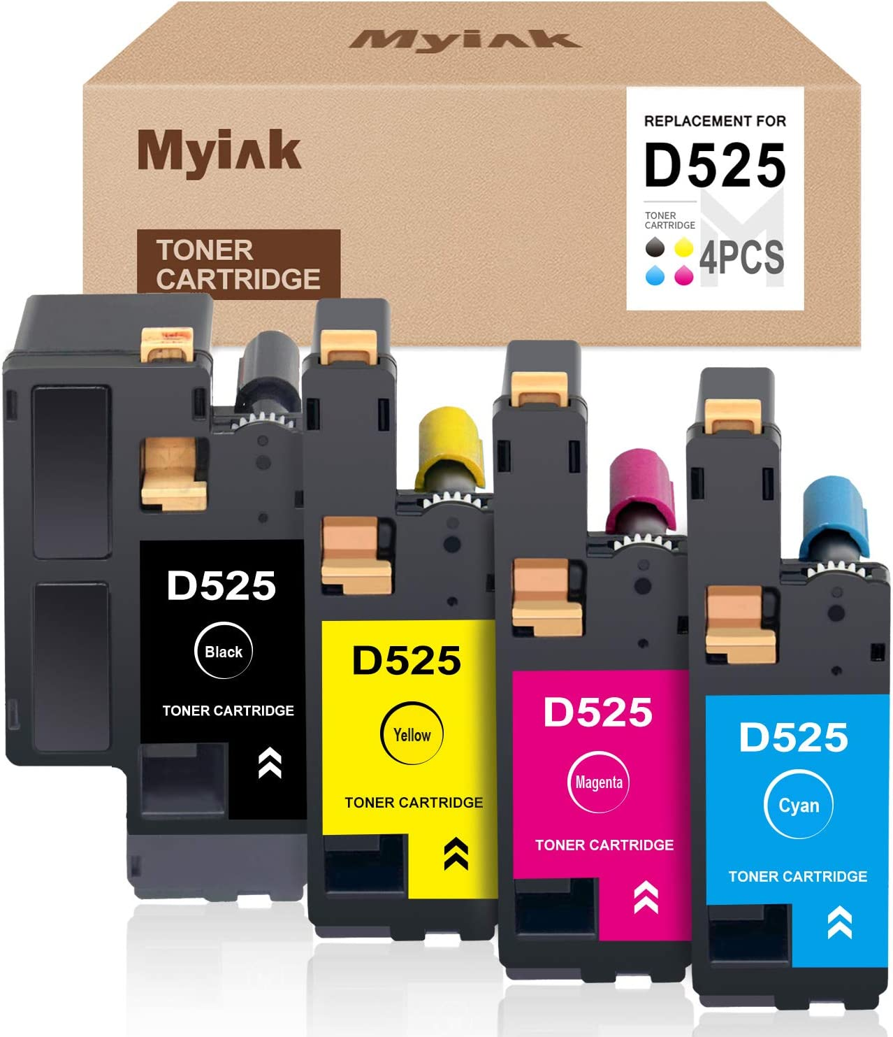 MYIK Compatible Toner Cartridge Replacement for Dell 525 E525 to use with Dell E525W (Black, Cyan, Magenta, Yellow, 4-Pack)