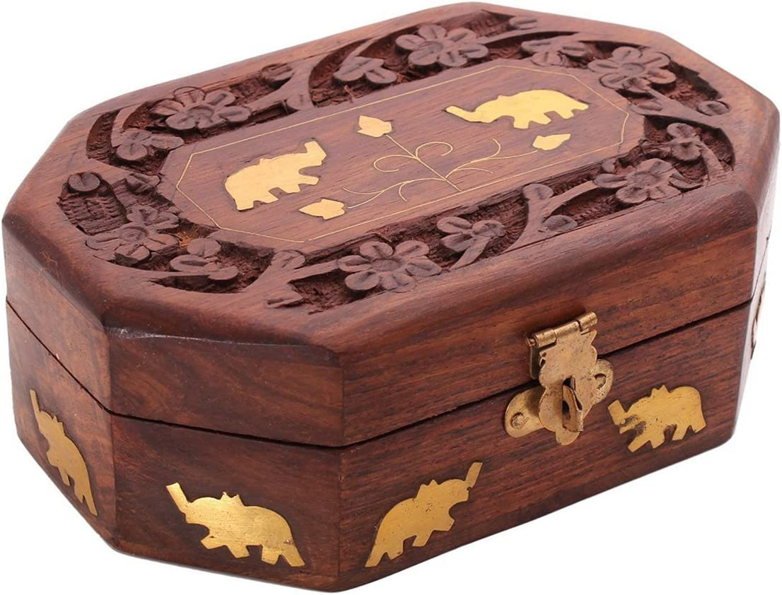 "Wooden Storage Box 6/"" x 4/"" Hand-carved Latest M... Inlaid With Solid Brass"