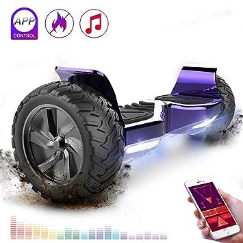 RCB Scooter Eléctrico de Auto-Equilibrio - Estándar de la UE - Off Road Patinete Eléctrico Todo Terreno Hummer de 8.5 Pulgadas con Bluetooth App LED ...