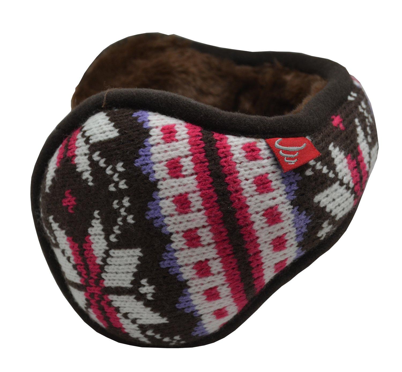 Mraw Unisex Woolen Yarn Big Snowflake Pattern Foldable/Adjustable Wrap around Earmuffs (Fuchsia)