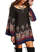 Haoricu Women Dress, Womens Long Sleeve Vintage Party Beach Dress Casual Vestidos