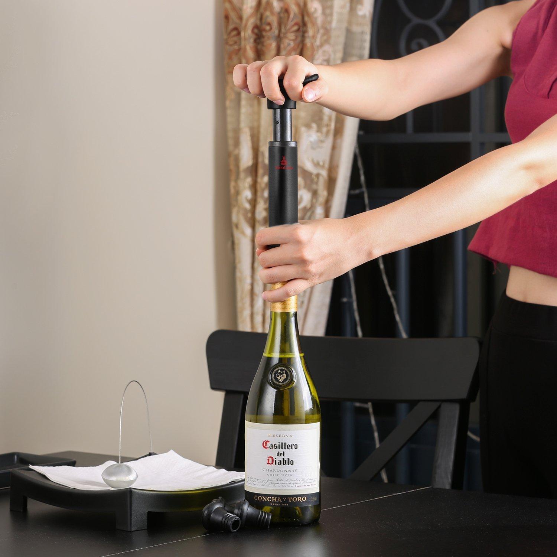 VINOCARE/® Bomba de Vac/ío /& 4 Tapones Premium Vacu Set Sommelier para Sellar y Preservar su Botella de Vino