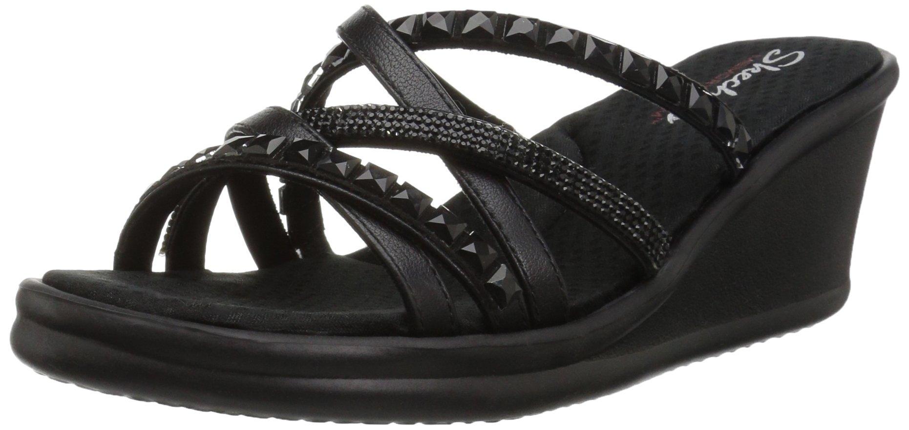 Skechers Women's Rumblers-Glass Flowers-Rhinestone Multi-Strap Slide Wedge Sandal, Black/Black, 5 M US