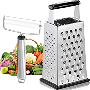 Mudder Box Grater 4-Sided 10-inch Stainless Steel with Cheese Slicer for Parmesan Cheese, Ginger, Vegetables