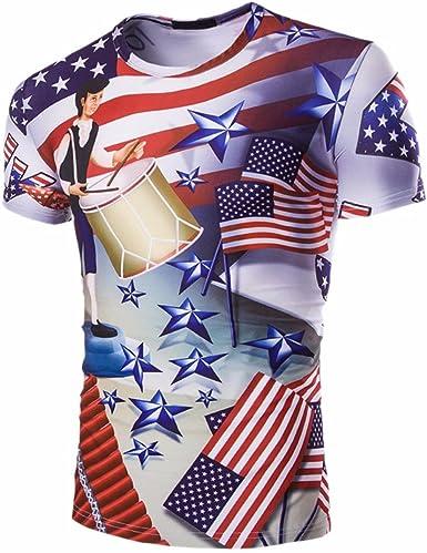 QIYUN.Z Barras Y Estrellas De La Bandera Americana USA 4 De Julio Los Hombres De Impresion De Manga Corta Camisa De La Blusa: Amazon.es: Ropa y accesorios