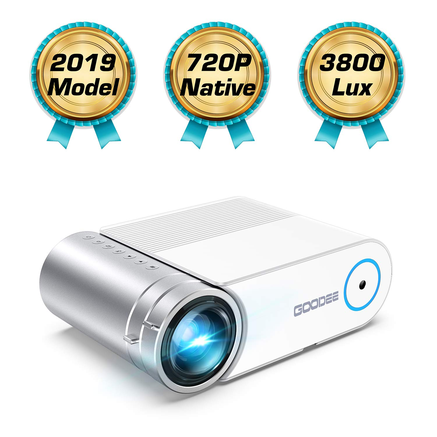 Mini Projector, GooDee HD Video Projector 3800 Lux with 50,000 Hrs, 200 inch Home Theater Movie Projector, 1080P Supported Compatible with Fire TV Stick, PS4, HDMI, VGA, USB