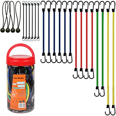 "Cartman Bungee Cords Assortment Jar 24 Piece in Jar - Includes 10"", 18\"", 24\"", 32\"", 40\"" Bungee Cord and 8\"" Canopy/Tarp Ball Ties [5Bkhe0802919]"