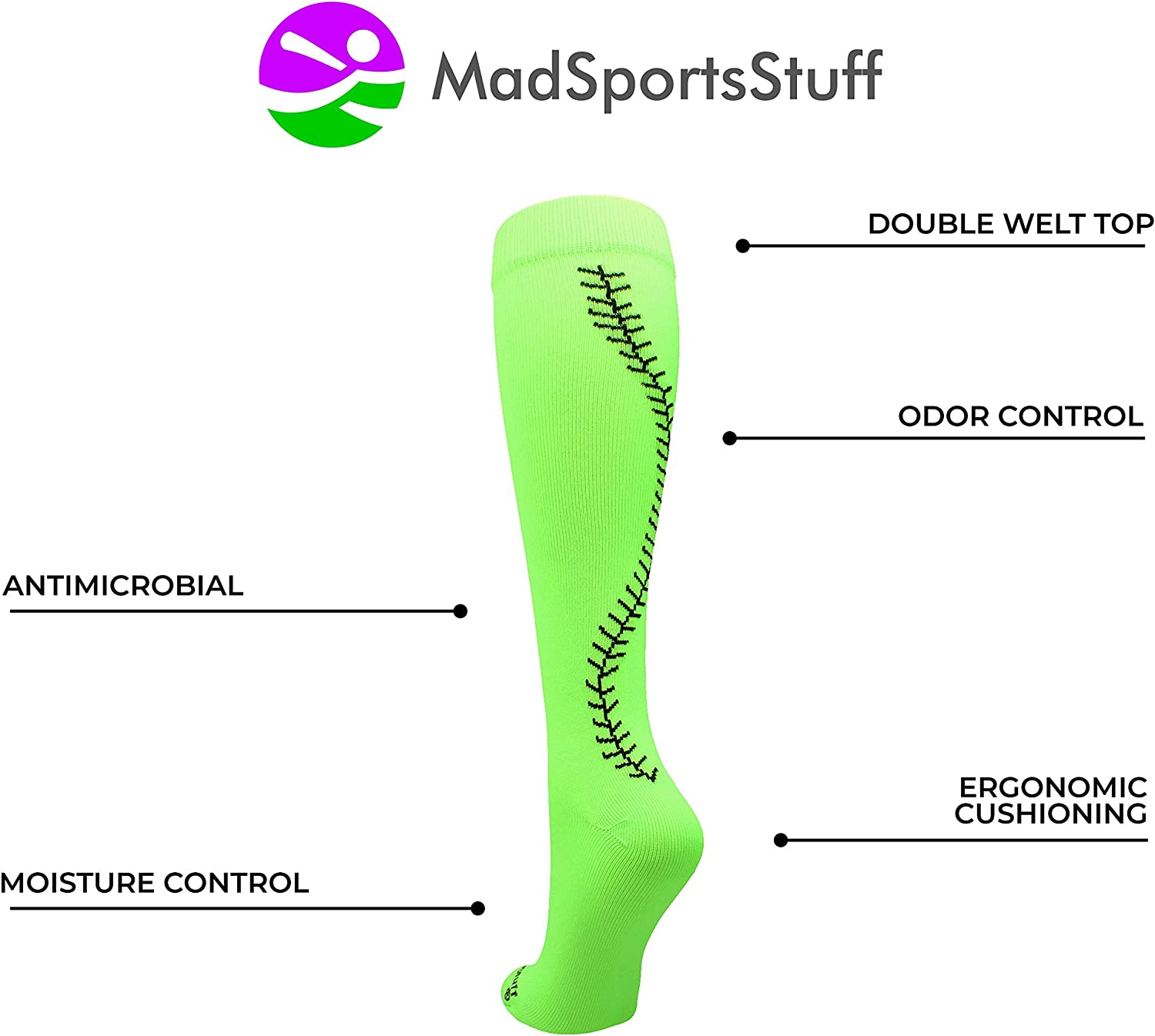 Softball Socks with Stitches Over the Calf multiple colors