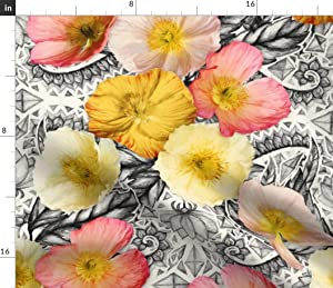 Spoonflower Fabric - Graphic Poppy Collage Poppies Black White Peach Floral Flowers Garden Printed on Minky Fabric by The Yard - Sewing Baby Blankets Quilt Backing Plush Toys