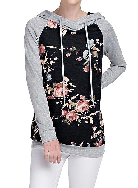 Kinikiss Mujer Camisas Manga Larga Otoño Invierno Floral Imprimir Moda Casual Blusa Tops