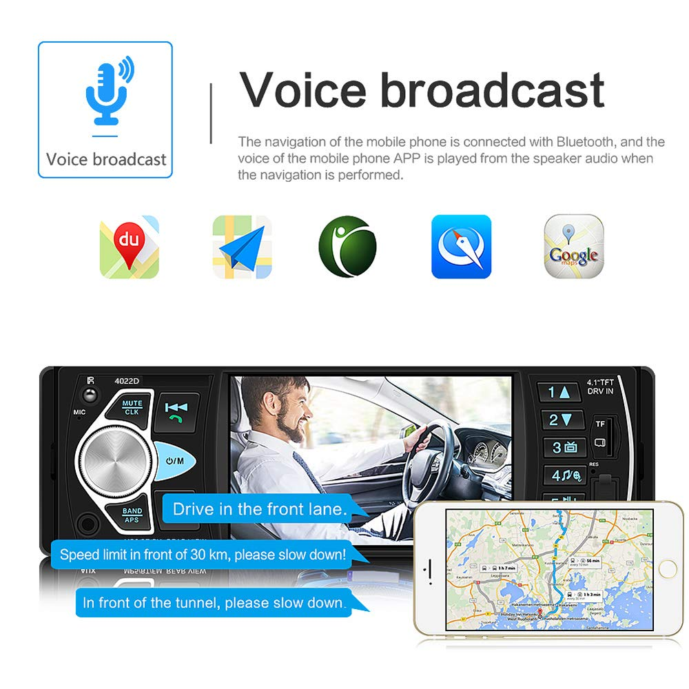 12 Led Rear View Camera Multimedia Car Stereo Single Din Car Radio 4.1 Digital TFT Screen Bluetooth Audio and Hands-Free Calling FM Radio Receiver MP5 Player AUX//TF//USB SWC Remote Control