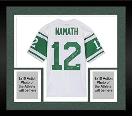 "235d35d56 Framed Joe Namath New York Jets Autographed Green Mitchell & Ness Replica  Jersey with""HOF"