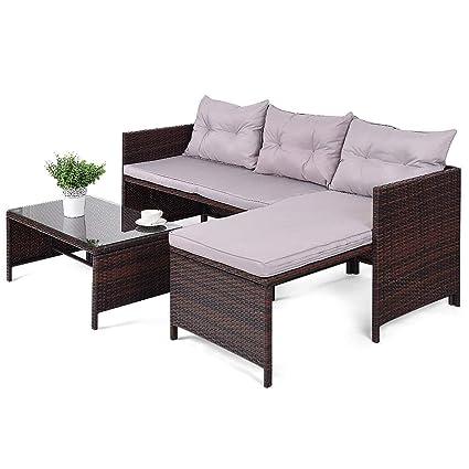 Amazon.com : Outdoor Patio Sofa Set Rattan Wicker Deck Couch Garden ...