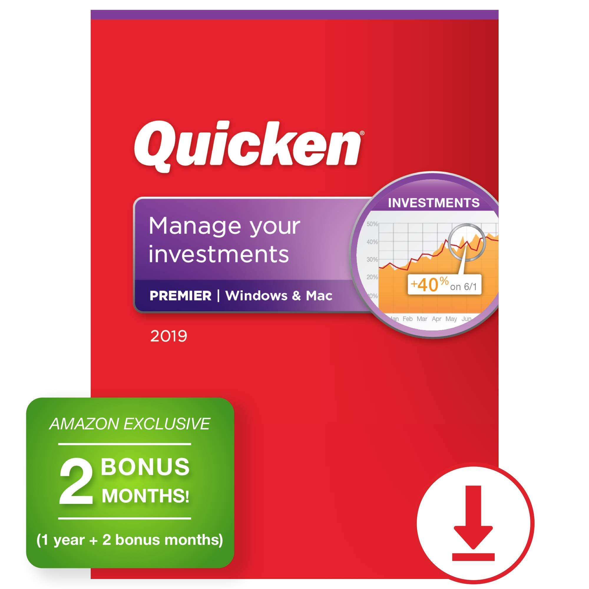 Quicken Premier 2019 Personal Finance & Investment Software [PC/Mac Download] 1-Year Subscription + 2 Bonus Months [Amazon Exclusive] by Quicken
