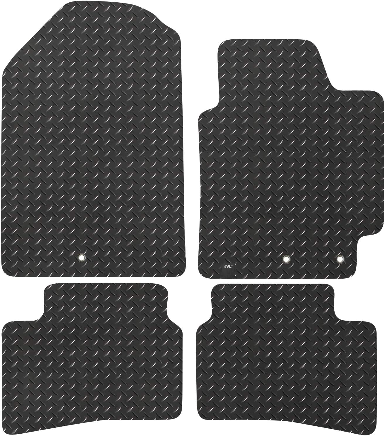 Black JVL Fully Tailored Rubber Car Mat Set for Rio YB 2017-On